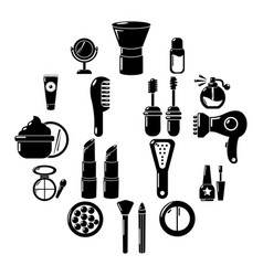 Cosmetics icons set simple style vector