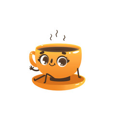 cup of coffee or tea cartoon character - cute vector image
