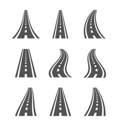 Curved road symbols highway and roadway vector