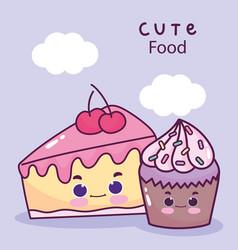 cute food cupcake and slice cake cherry sweet vector image