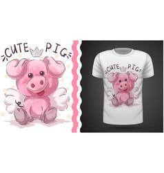 Cute pig - idea for print t-shirt vector