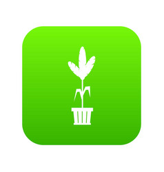 Decoration plant on pot icon digital green vector