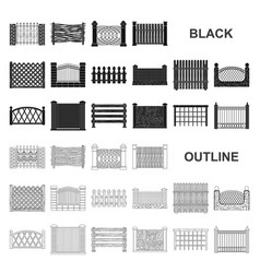 Different fence black icons in set collection for vector
