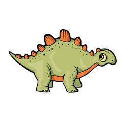 dinosaur on white background cute cartoon vector image