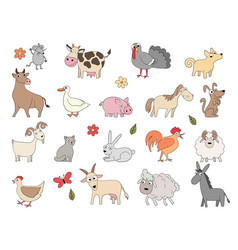 domestic animals cute funny farm horse pig vector image