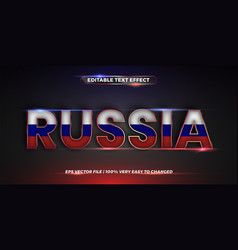 Editable text effect russia word with national vector
