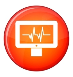 Electrocardiogram monitor icon flat style vector