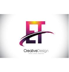 Et e t purple letter logo with swoosh design vector