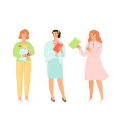 female characters holding books vector image