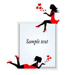 female silhouettes on a paper background vector image