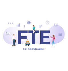 Fte full time equivalent concept with big word vector