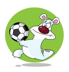 Funny polar bear and ball vector