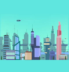 Future city flat urban cityscape vector
