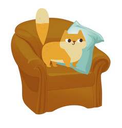 Ginger cat funny plump cat in the big armchair vector