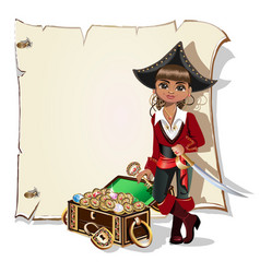 Girl pirate blank frame vector