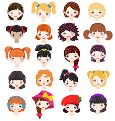girl portrait female girlie character face vector image