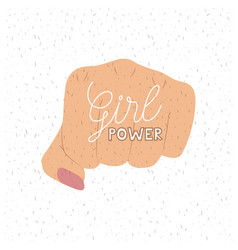 girl power text poster with female fist in skin vector image