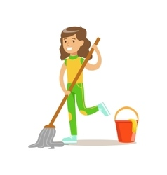 Girl Washing The Floor With Mop And Water Smiling vector image