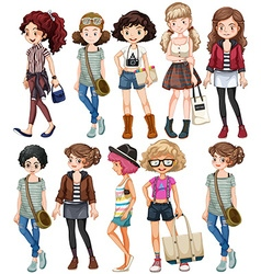 Girls in different clothings vector