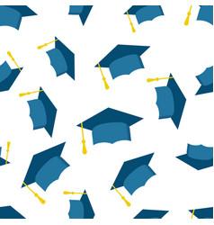 Graduation cap seamless pattern background icon vector