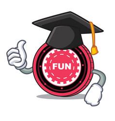 graduation funfair coin character cartoon vector image