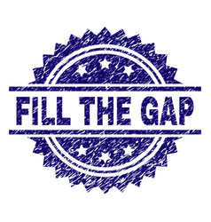 Grunge textured fill the gap stamp seal vector