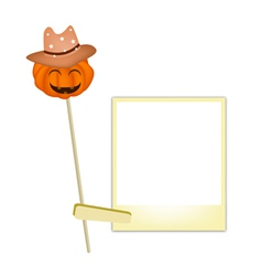 Halloween Pumpkin in Cowboy Hat with Blank Photos vector image