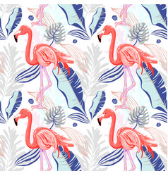 hand drawing seamless pattern with pink flamingo vector image