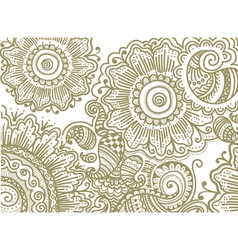 hand drawn pattern with flowers vector image