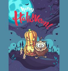 happy halloween background with owl and vector image