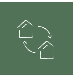 House exchange icon drawn in chalk vector