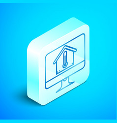 Isometric line computer monitor with house vector