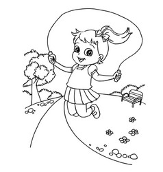 Kid jumping rope cartoon coloring page vector