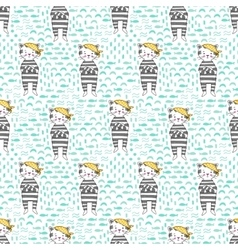 Kitten pirate seamless pattern vector