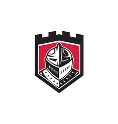 Knight helmet shield retro vector