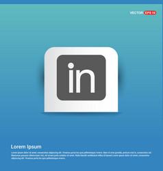 linked in icon - blue sticker button vector image