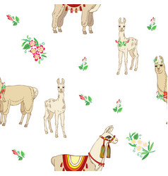 Llamas with flowers hand drawn seamless pattern vector