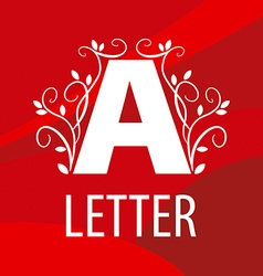 Logo letter A with floral patterns on a red vector image