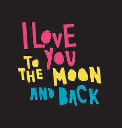 Love moon back color bl vector