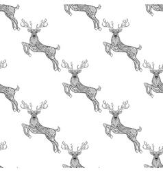 magic horned deer seamless pattern in entangle vector image