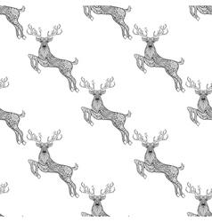 Magic horned deer seamless pattern in zentangle vector image