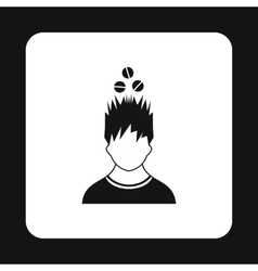 Man with tablets over his head icon simple style vector