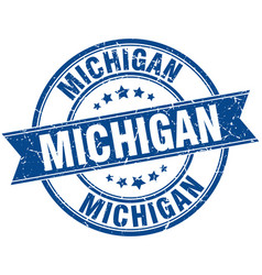 Michigan blue round grunge vintage ribbon stamp vector