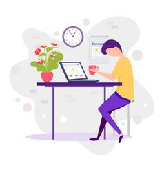 millennials at work male millennial working vector image