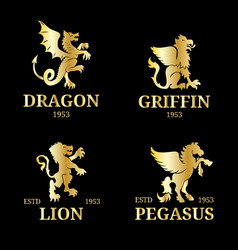 monogram templates luxury pegasus lion vector image