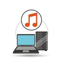 music laptop data server vector image