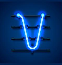 Neon font letter v art design signboard vector