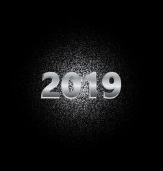 new year 2019 silver glitter background vector image