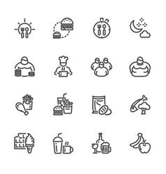obesity behavioral risk factors line icons set vector image