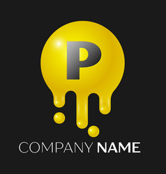 P letter splash logo yellow dots and bubbles vector